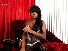 Black Bambi teases and masturbates