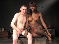 Ts Natassia Dream beats her slave ass and fucks him hard