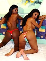 Two young hot black transsexuals sucks and fucking each other.