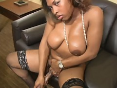 Lovely black shebabe strokes monster girl pole
