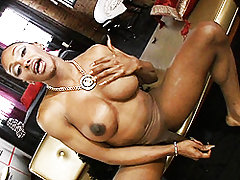 Beautiful ebony Natalia strips and jerks