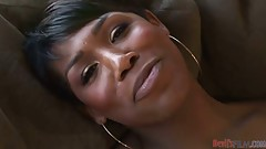 Sexy black tranny gets pounded on the couch