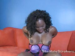 Naughty Tgirl Janet Jaxxxson plays a Solo on her Shemeat