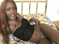 Black T-girl with red hair pumps shecock