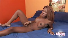Stunning black tgirl with sexy body playing