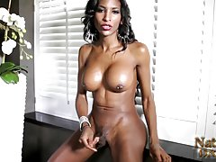 Chocolate beauty Natassia plays