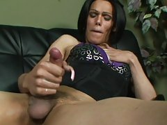 Nasty shemale strokes her huge girlmeat