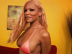 Ebony american shemale with blonde hair