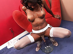 Stunning black tranny dressed in white