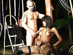Black shemale roughs up her mate then lets him have his way