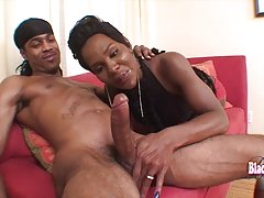 Nasty black tgirl bounces on big hard dick