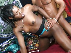 Ebony tgirl begs for a hard fuck