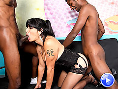 Sweet Black temptress takes on two hung studs